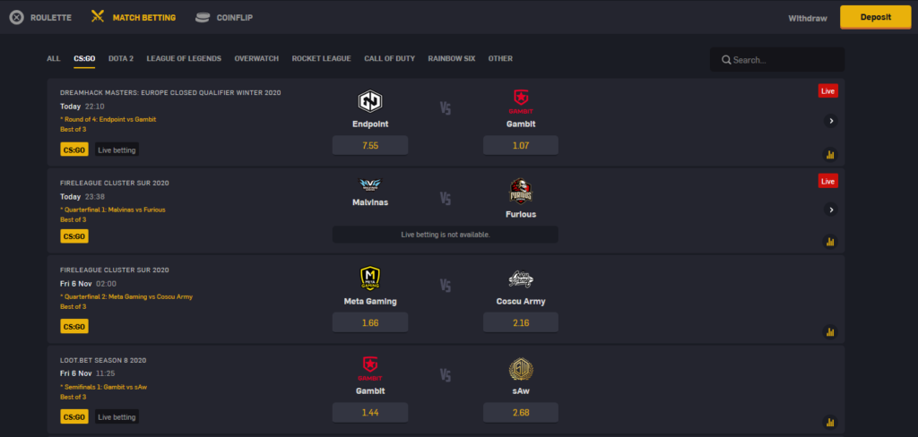 CSGOEmpire Match Betting Picture
